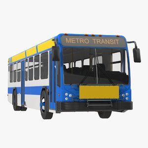 bus metro transit rigged 3d max