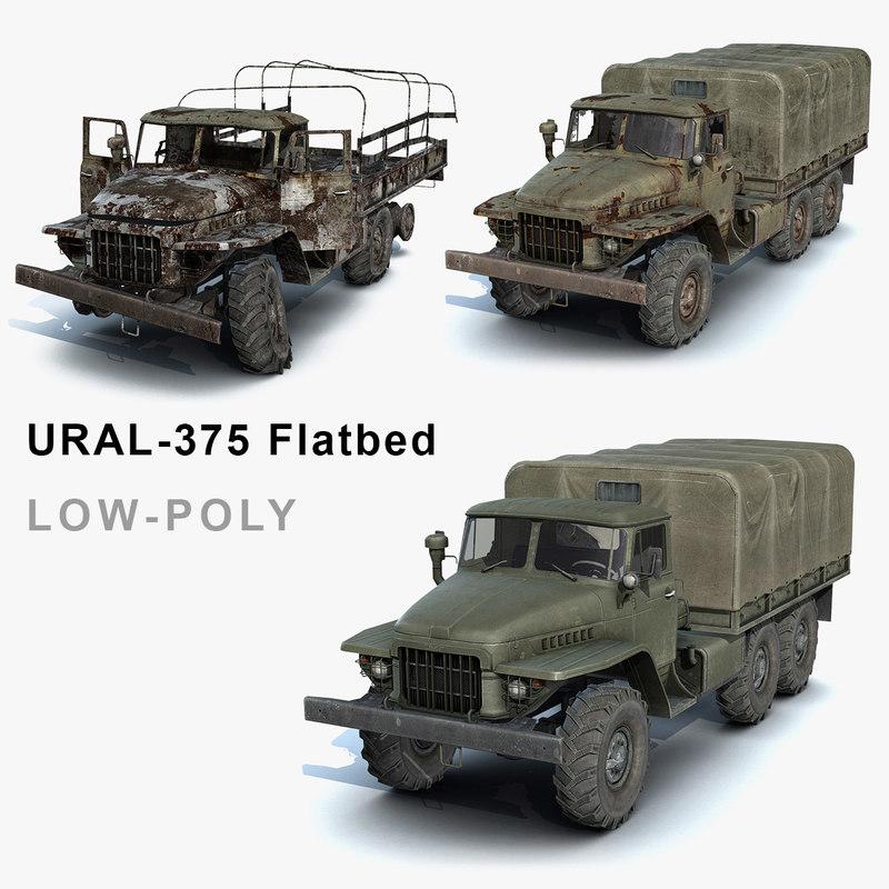 3ds max set ural-375 flatbed