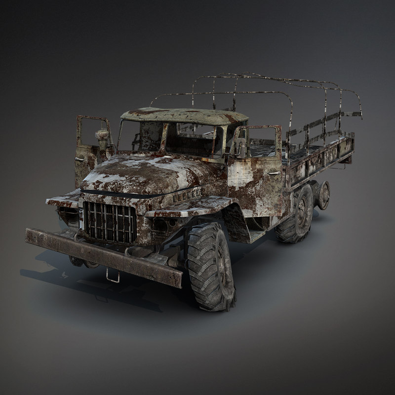 3d low-poly flatbed ural-375 burnt