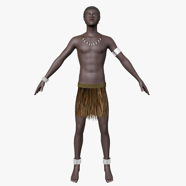 papuan hair character 3d model
