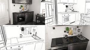 small kitchen 3d max