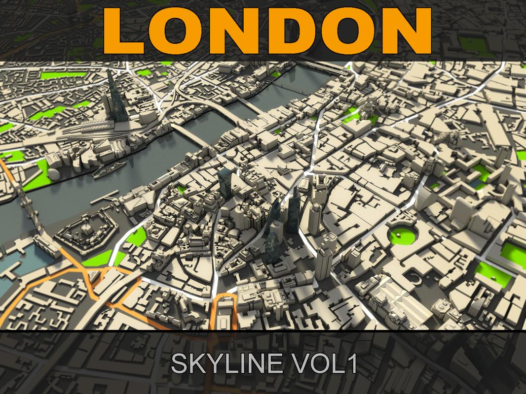 3d london skyline model