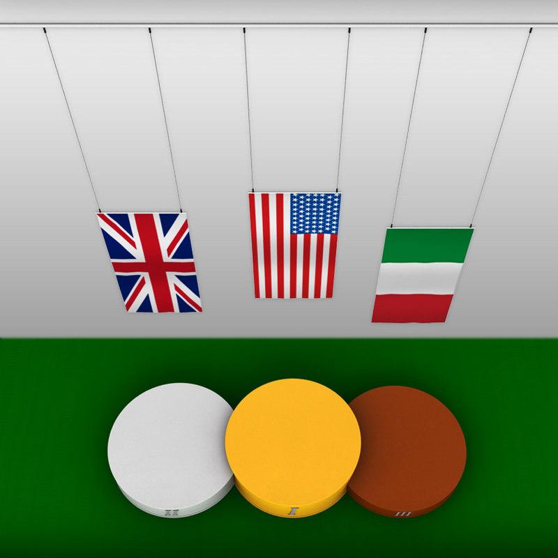 sport podium flags 3d model