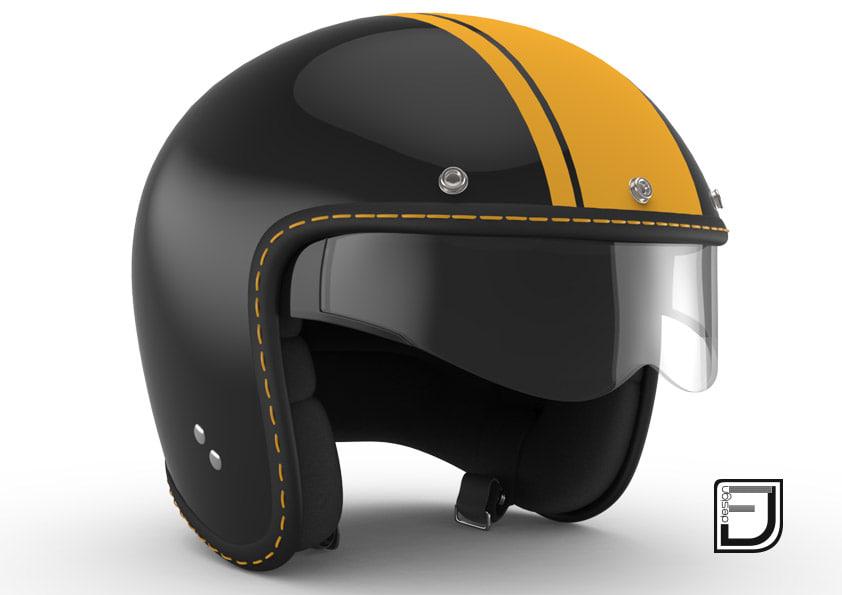 3d model black r helmet h08