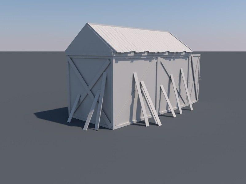 3d old wooden shed model