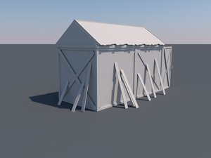 3d old wooden shed model