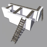 3d blend walkways steps ladders wood