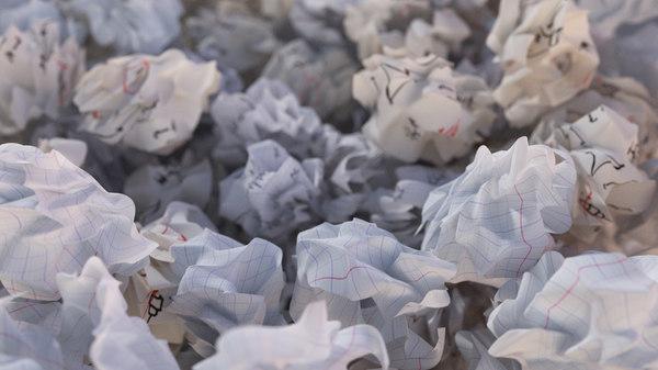 3d crumpled paper ball model