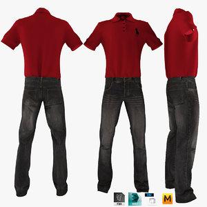 3d model jeans shirt t