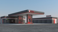 ready scene gas station 3d max