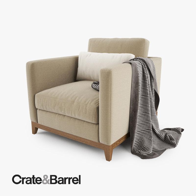 3d model crate barrel taraval armchair