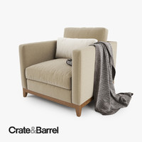 3d model crate barrel taraval armchair