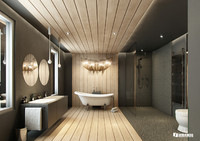 VRayforC4D Scene files - Modern-Classic Bathroom Scene