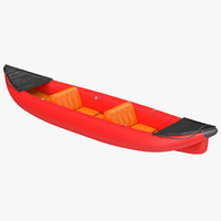 Inflatable Kayak 3 Red 3D Model