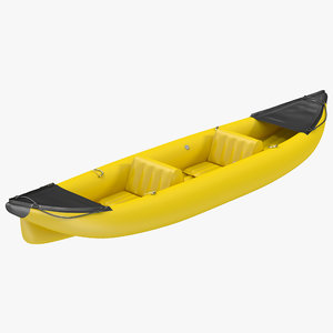 kayak 3 yellow modeled 3d 3ds