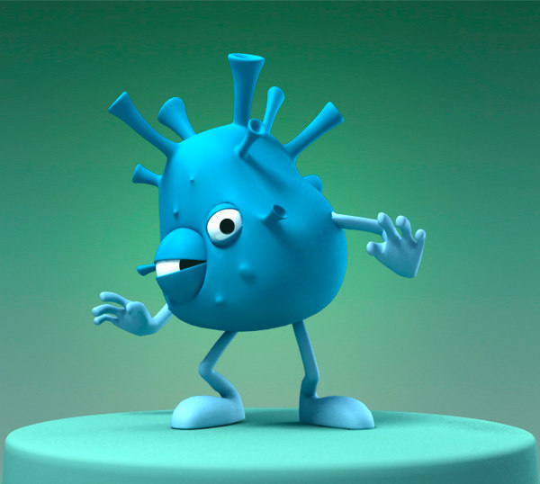 3d model funny cartoon bacterium