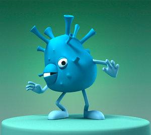 3d model funny cartoon bacterium