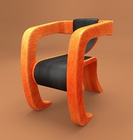 wooden framed leather arm chair 3d 3ds