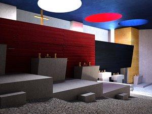 tourette chapel le corbusier 3d max