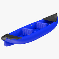 3d inflatable kayak 3 blue model