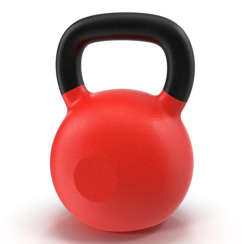 3d kettlebell 2 red model