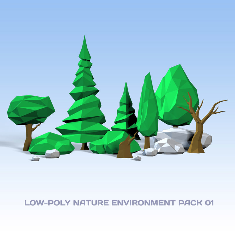 3d model nature pack 01 realtime trees