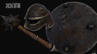 shield hammer helmet 3d model
