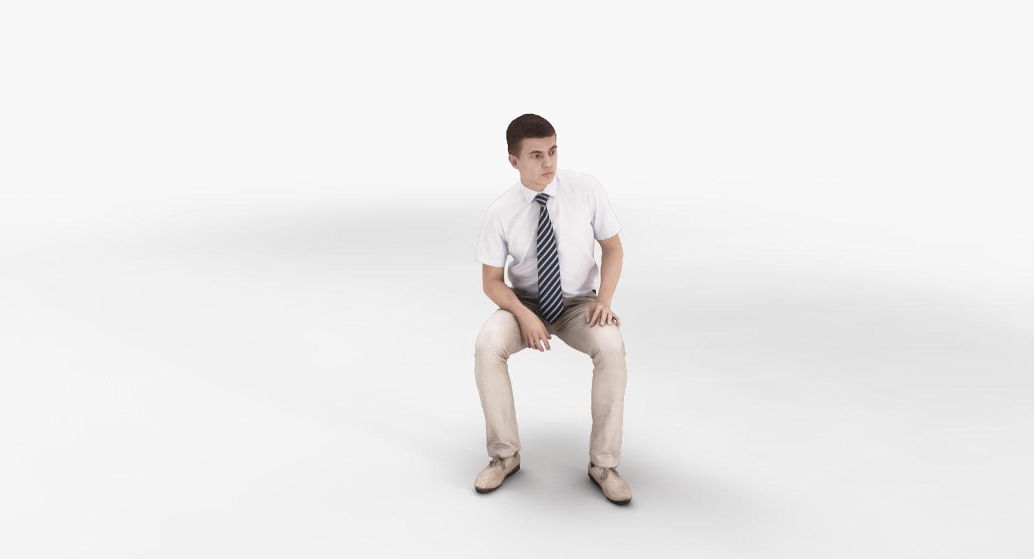 man businessman sitting 3d max
