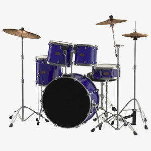 drum kit generic modeled 3ds