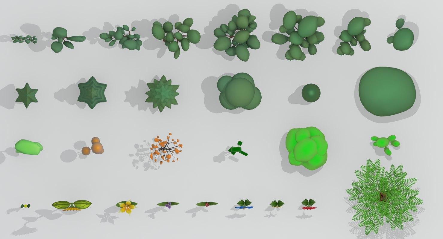 3d model cartoon tree flower
