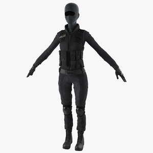 3d swat woman uniform 3 model