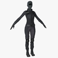 swat woman uniform 4 3d model
