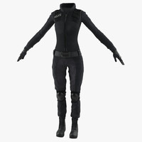 swat woman uniform 5 3d model