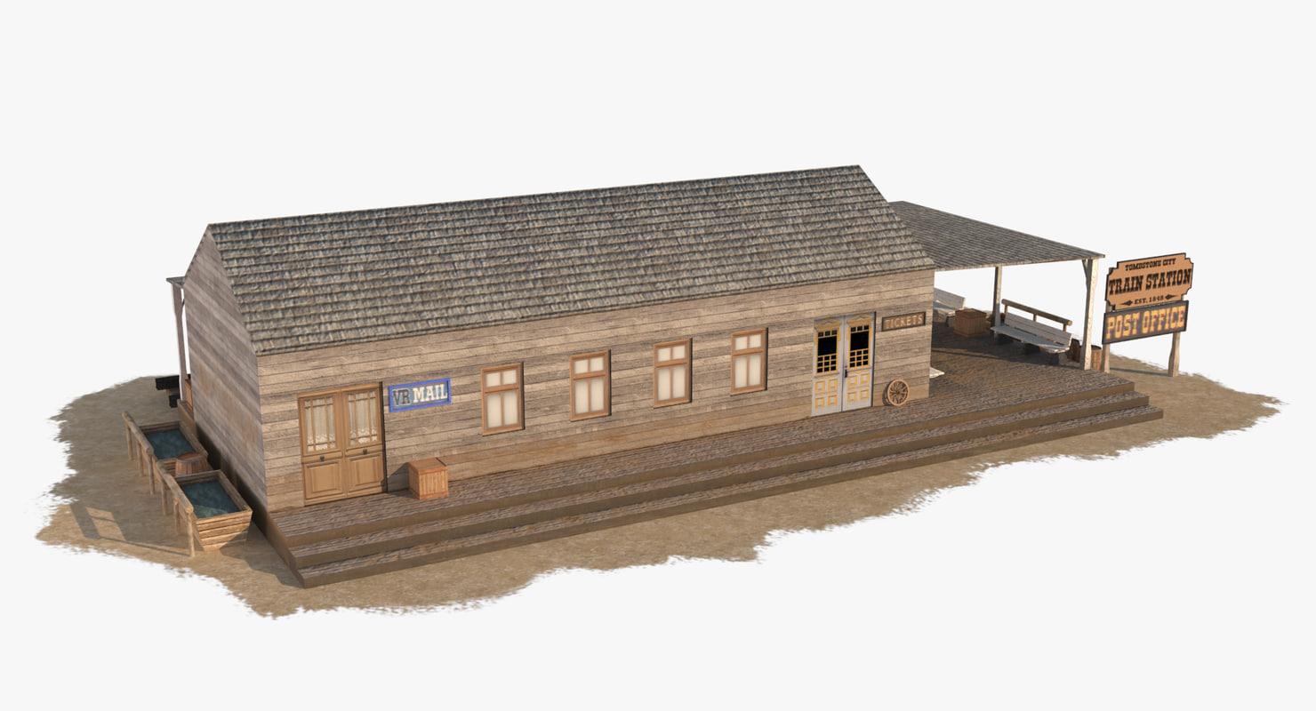 wild west train station 3d max