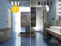 3d bathroom 62 night scene