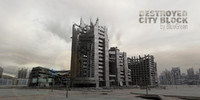 destroyed city block 3d model