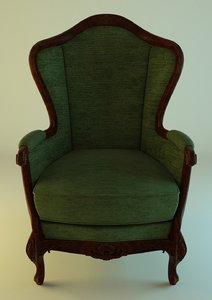 green fabric armchair 3d obj