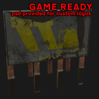 construction billboard 3d 3ds
