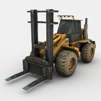 3d heavy industrial forklift