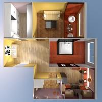 3d model scene apartment