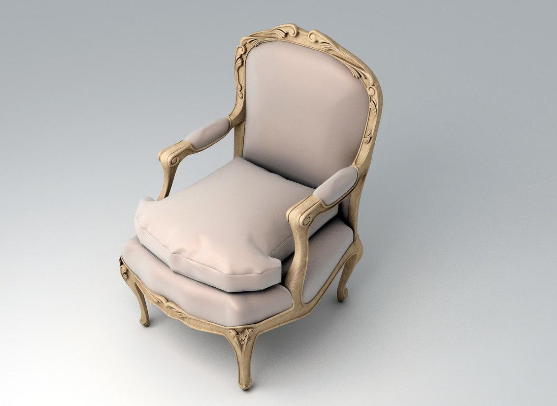 3d classic chair louis xv model