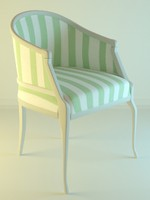 3d model fabric classic armchair