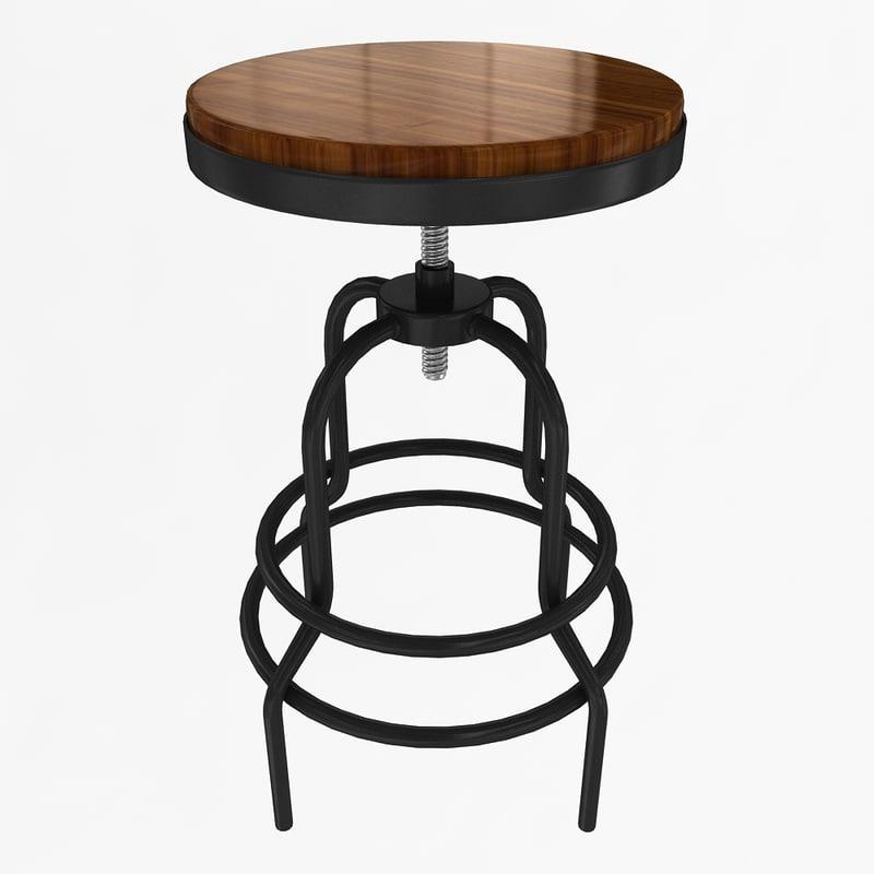 industrial mansard stool 3d model