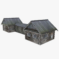 3d model of russian hut