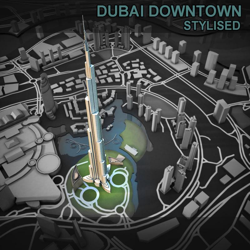 3d model dubai city