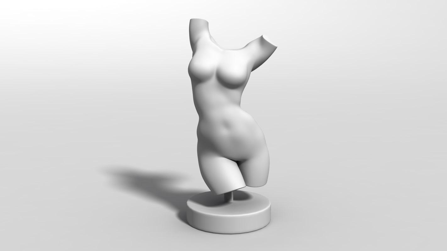 obj female bust figurine
