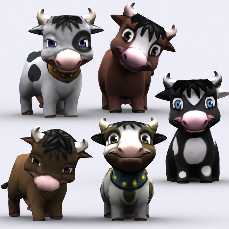 chibii - cow animals 3d 3ds