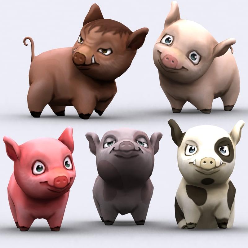 chibii - pig animals 3ds