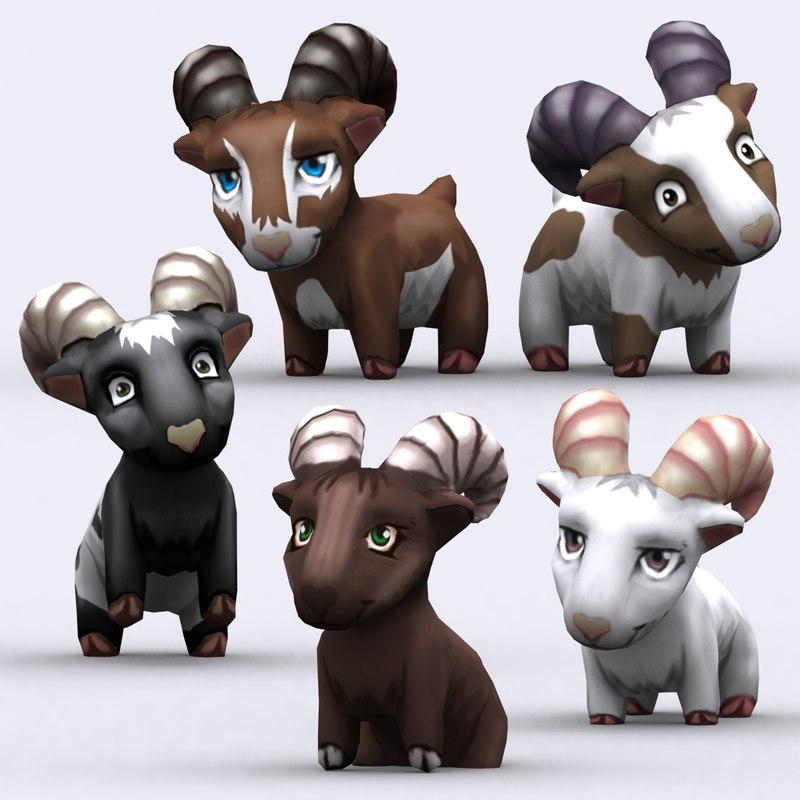 chibii - goat animals 3d model