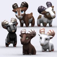chibii - goat animals 3d model